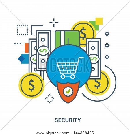 Concept of protection of deposits and payments. Color Line icons. Flat Vector illustration