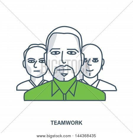 Concept of businessman, business people teamwork, team skills, management. Color Line icons. Flat Vector illustration