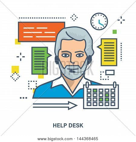 Concept of online support, consultant and call center. Color Line icons. Flat Vector illustration