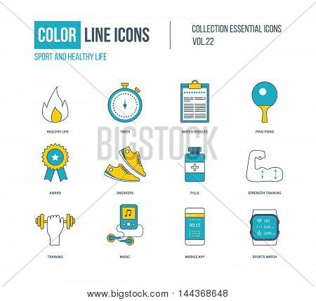 Color thin Line icons set. Healthy lifestyle and sport, ping-pong, award, strength training, mobile app, sports watch. Colorful logo and pictograms