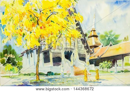 watercolor painting yellow orange color of golden tree flowers in sky and cloud background original painting.