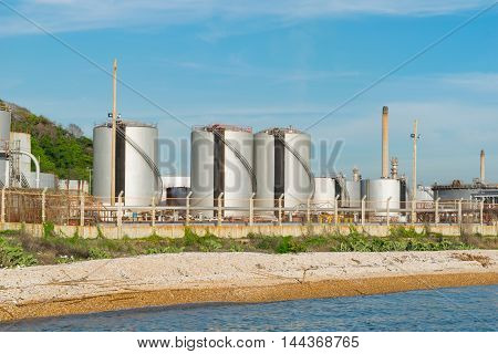 Oil Refinery Industry With Blue Sky Background