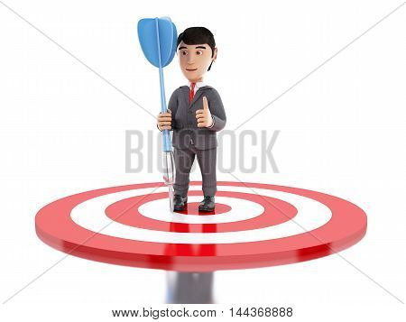 3d Illustration. Businessman on target with a dart. Business and success concept. Isolated white background.