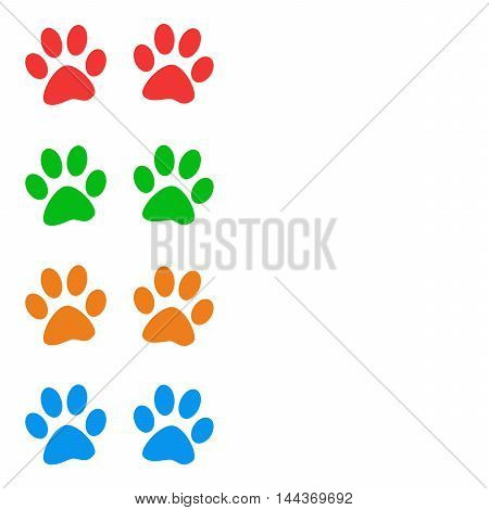 Colorful animal paw prints on white background with copy space. Raster graphic image