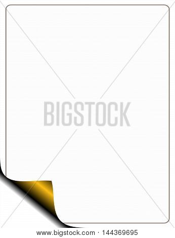 blank white page frame with a golden bend raster image