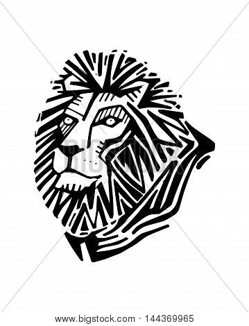 Hand drawn vector illustration or drawing of a lion head