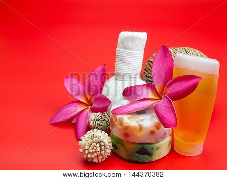 Beautiful composition of spa treatment On a red background. (Space for your text)