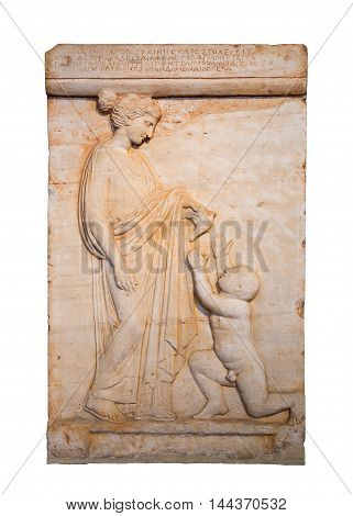 Marble Greek grave stele shows a girl offering a bird to a boy, found in Vari, Attica 420 B.C., isolated.