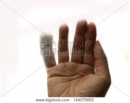wounded finger with bandage on a white background. (Space for your text)