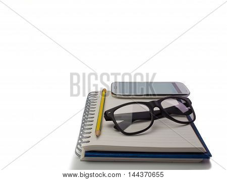 notebook and pencil Mobile Phones Placed on a white background.