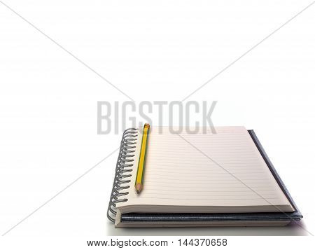 notebook and pencil Placed on a white background.