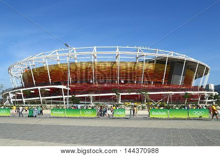RIO DE JANEIRO, BRAZIL - AUGUST 7, 2016: Main tennis venue Maria Esther Bueno Court of the Rio 2016 Olympic Games at the Olympic Tennis Centre