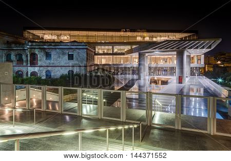 ATHENS, GREECE - OCTOBER 5: The new Acropolis museum opened to the public on June 21, 2009, exhibits the findings of the of the Acropolis archaeological site, on October 5, 2013 in Athens, Greece.