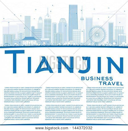 Outline Tianjin Skyline with Blue Buildings and Copy Space. Business Travel and Tourism Concept with Modern Buildings. Image for Presentation Banner Placard and Web Site.