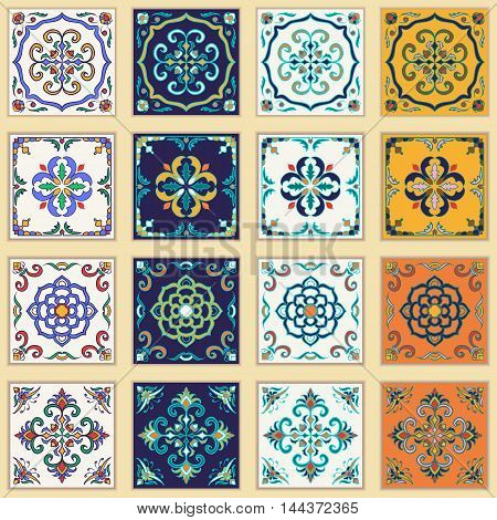 Vector set of Portuguese tiles. Beautiful colored patterns for design and fashion. Azulejo Talavera Moroccan ornaments in four different color combination