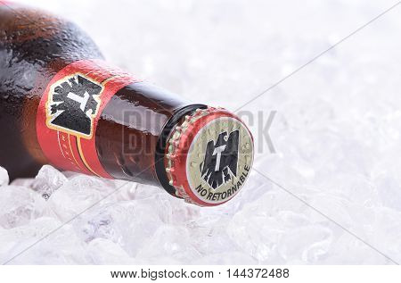 Tecate Beer Bottle On Ice