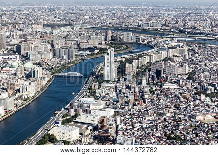 Aerial viewriver and building of Tokyo cityscape Japan