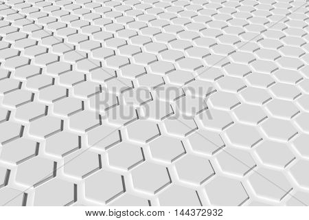 white hexagon shape 3d rendering background and wallpaper