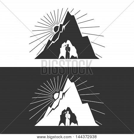 Miner against Mountains on White and Gray Background ,Mining Industry, Logo Design Element, Mine Shaft Concept ,Vector Illustration