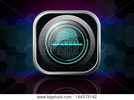 Illustration of  Fingerprint Scanner  on abstract background