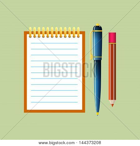 Notebook with a Pen and Pencil Jotter Isolated on Green Background ,Office Equipment ,Vector Illustration