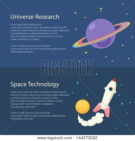 Planet Saturn with Stars in Outer Space, Spacecraft Flying in Space, Horizontal Banners Flat Design, Vector Illustration