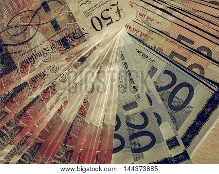 Vintage Euro And Pounds Notes