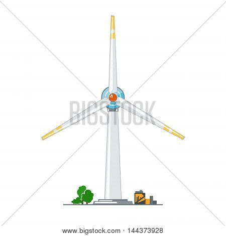 Wind Turbine on White Background ,Horizontal Axis Wind Turbine, Vector Illustration