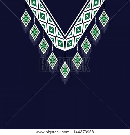 Ethnic Neck Embroidery for fashion and other uses in vector