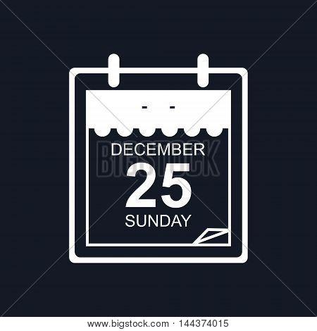 Calendar Leaf Isolated on Black Background, Christmas December 25, Vector Illustration