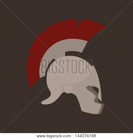 Antiques Roman or Greek Helmet Isolated, Helmet with a Red Crest of Feathers or Horsehair with Slits for the Eyes and Mouth, Vector Illustration