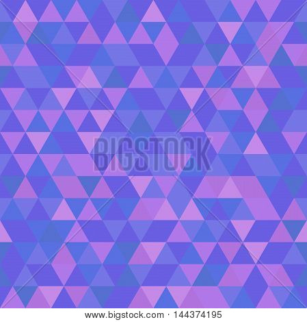 Geometric pattern with purple and blue triangles. Seamless abstract background
