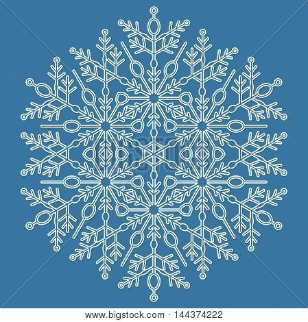 Round white snowflake. Abstract winter fine ornament