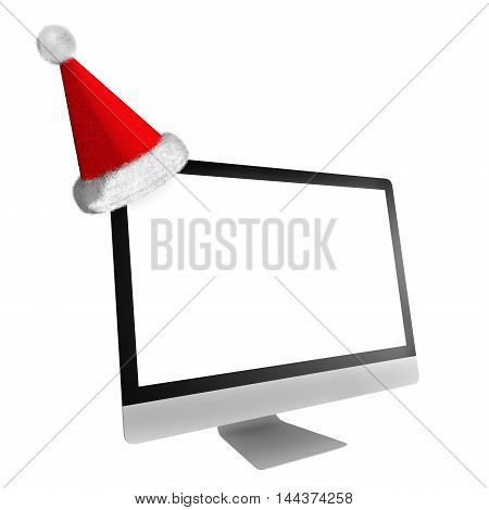 Computer With Xmas Hat