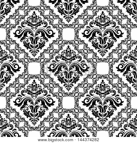 Oriental classic light and black pattern. Seamless abstract background with repeating elements