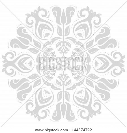Oriental pattern with arabesques and floral elements. Traditional classic ornament. Light gray pattern