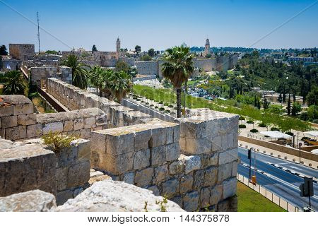 stone wall around the Old City of Jerusalem