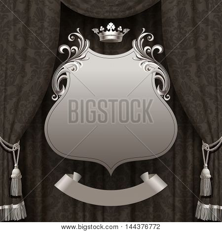 Suspended decorative vintage frame with crown and ribbon on the dark ornamental curtain background. Square presentation retro artistic poster and placard