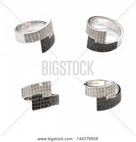 gold ring with diamonds on a white background