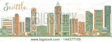 Abstract Seattle City Skyline with Color Buildings. Vector Illustration. Business Travel and Tourism Concept with Modern Buildings. Image for Presentation, Banner, Placard and Web Site.