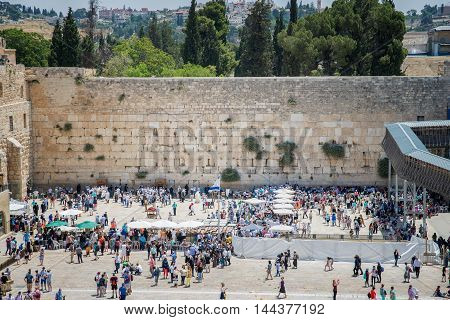 JERUSALEM, ISRAEL - JUNE 1, 2015: The Western Wall, Wailing Wall or Kotel. One of the most important religious shrines.