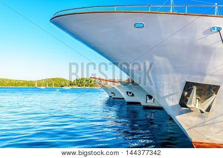 Docked yacht in marina, summertime in town Korcula, Croatia Europe.