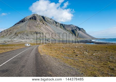 The ring road and southeastern Iceland during a sunny day in August