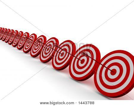Zeile rote und weiße Ziel