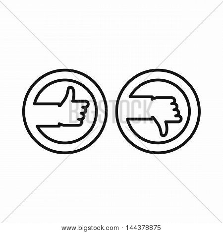 Thumbs up and down buttons icon in outline style on a white background