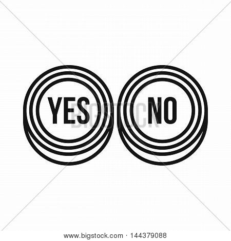 Yes and No buttons icon in outline style on a white background