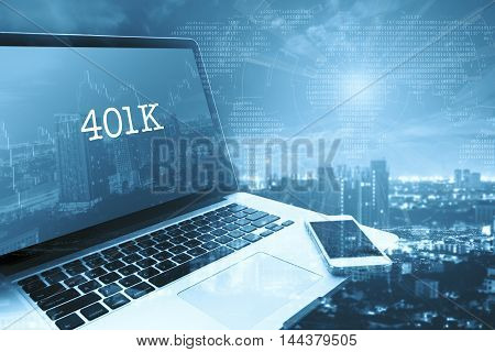 401K : Grey computer monitor screen. Digital Business and Technology Concept.