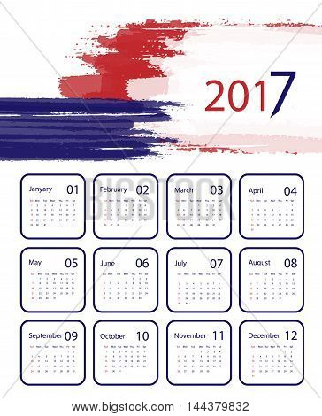 2017 vector calendar grungy design. Red and blue vector design. Elements for your work. Eps10