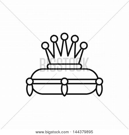 Crown on a pillow icon in outline style on a white background