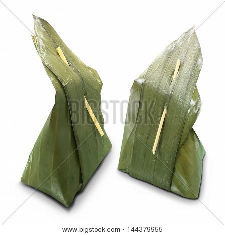 Thai dessert wrapped in banana leaves. Banana leaf apply to packaging Thai dessert.